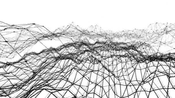 Abstraktní jednoduché černobílé mává 3d mřížky nebo síťoviny jako molekulární pozadí. Šedá geometrické vibrační prostředí nebo Blikající pozadí