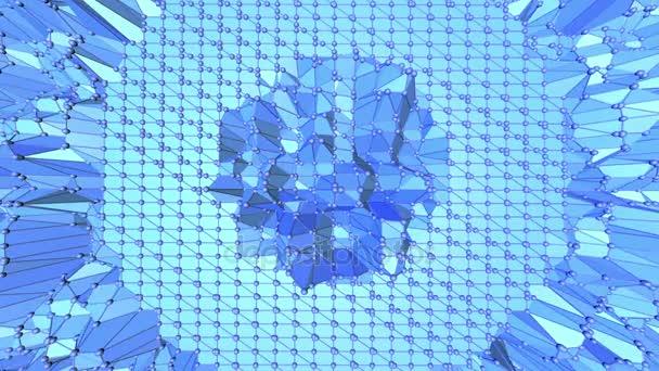 Blue metalic nízké poly mávat povrch jako fantastické krajiny. Modrá polygonální geometrické vibrační prostředí nebo Blikající pozadí kreslené nízké poly populární moderní stylový 3d design. Volné místo