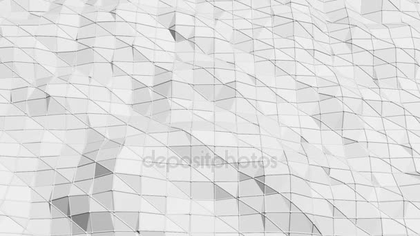 Abstract simple black and white low poly waving 3D surface as transforming environment. Grey geometric vibrating environment or pulsating background in cartoon low poly popular stylish 3D design.