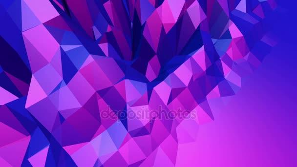 Fialové abstraktní nízké poly mávat povrch jako zajímavé pozadí. Fialové abstraktní geometrické vibrační prostředí nebo Blikající pozadí kreslené nízké poly stylový 3d design. Volné místo