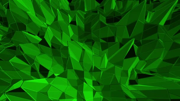 Dark green low poly waving surface as fantastic relief. Dark green polygonal geometric vibrating environment or pulsating background in cartoon low poly popular modern stylish 3D design.
