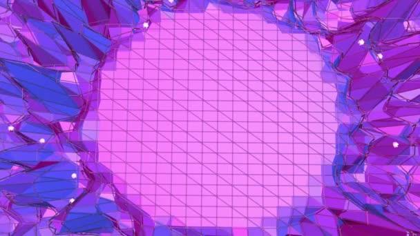 Fialové abstraktní nízké poly mávat povrch jako elegantní pozadí. Fialové abstraktní geometrické vibrační prostředí nebo Blikající pozadí kreslené nízké poly populární moderní stylový 3d design. Volné místo