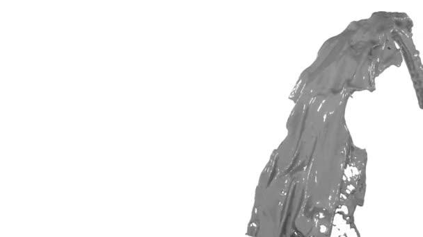 flusso di vernice grigia di Fontana volare in aria con molti spruzzi. Colpo di liquido grigio come colore in movimento lento o vernice auto con canale alfa come mascherino luminanza. Ver9