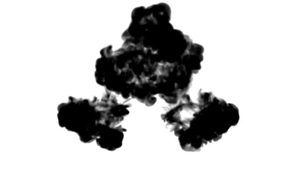 ink flows on white moving in slow motion, ink inject or blow smoke. Black paint drop in water for Inky or smoky background or ink effects. Use luma matte like alpha mask or alpha channel