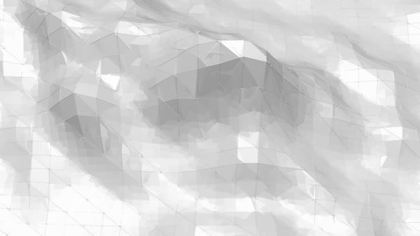 Abstraktní jednoduché černé a bílé nízké poly mávat 3d povrch jako světlé pozadí. Šedá geometrické vibrační prostředí nebo Blikající pozadí kreslené nízké poly populární stylový 3d design.