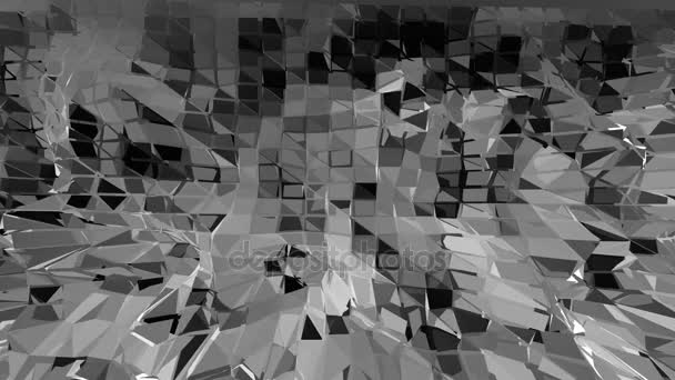 Abstract black and white low poly waving 3D surface as cartoon game background. Grey abstract geometric vibrating environment or pulsating background in cartoon low poly popular stylish 3D design.