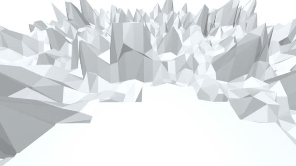 Abstract black and white low poly waving 3D surface as landscape or crystal structure. Grey abstract geometric vibrating environment or pulsating background. Free space