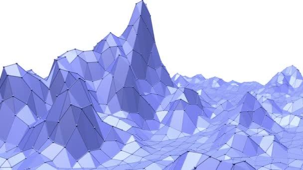 blaue metallische Low-Poly-Wellenoberfläche als Komplexität Hintergrund. blaue polygonale geometrische vibrierende Umgebung oder pulsierender Hintergrund in Cartoon Low Poly populäres modernes stilvolles 3D-Design..