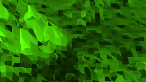 Green low poly background pulsating. Abstract low poly surface as futuristic relief in stylish low poly design. Polygonal mosaic background with vertex, spikes. Cool modern 3D design