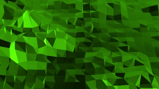 Green low poly background pulsating. Abstract low poly surface as space environment in stylish low poly design. Polygonal mosaic background with vertex, spikes. Cool modern 3D design Free space