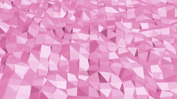 Rosy or pink low poly surface as crystal mesh. Polygonal digital mosaic red environment or background with moving in cartoon low poly popular modern stylish 3D design.