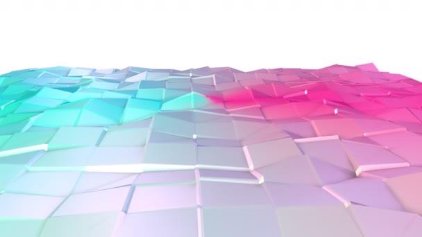 Abstraktní jednoduché modré růžové nízké poly 3d povrch jako složitost pozadí. Měkký geometrické nízké poly pohybu pozadí posunu čistě modrá růžová mnohoúhelníky. 4 k Fullhd bezešvé smyčka pozadí