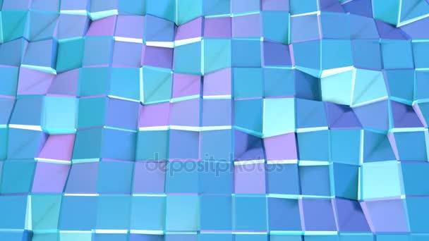 Abstraktní jednoduché modré fialové nízké poly 3d povrch jako struktura atomu. Měkký geometrické nízké poly pohybu pozadí posunu čistě modré fialové mnohoúhelníky. 4 k Fullhd bezešvé smyčka pozadí