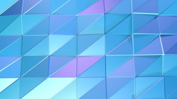 abstrakte einfache blauviolette Low-Poly 3D-Oberfläche als Kristallgitter. weicher geometrischer Low-Poly-Bewegungshintergrund aus verschiebenden reinblauen violetten Polygonen. 4k Fullhd nahtloser Schleifenhintergrund