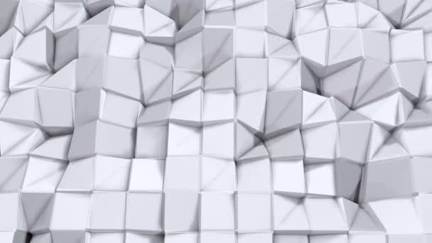 Jednoduché nízké poly 3d povrch jako kreativní pozadí. Měkký geometrické nízké poly pozadí čistě bílé šedé polygonů. 4 k rozlišení Full hd bezešvé smyčka pozadí s kopií prostor