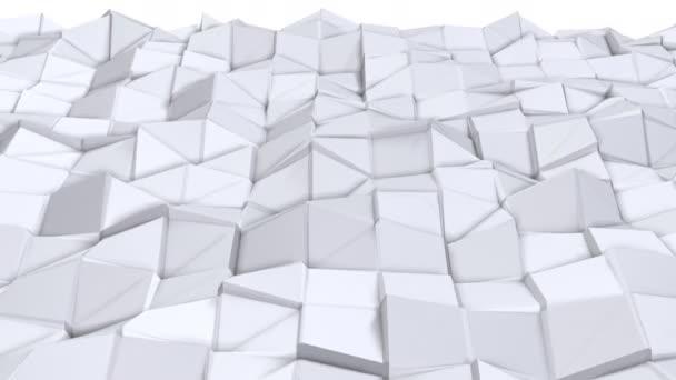 Egyszerű alacsony poly 3d felszín, divat háttérként. Lágy geometrikus alacsony poly háttér tiszta fehér szürke sokszög. 4 k Full hd varrat nélküli hurok háttér-val másol hely