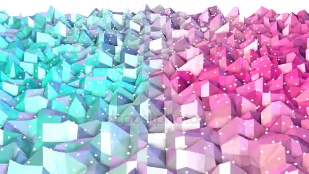 Abstract simple blue pink low poly 3D surface and flying white crystals as backdrop. Soft geometric low poly background of pure blue pink polygons. 4K Fullhd seamless loop background.