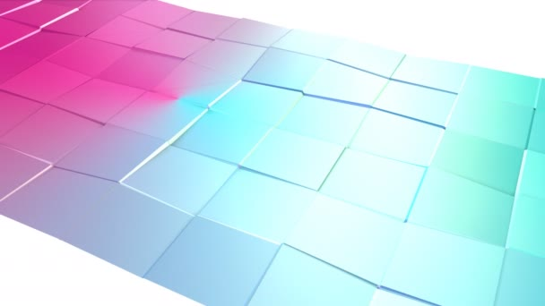 Abstract simple blue pink low poly 3D surface as decorative environment. Soft geometric low poly motion background of shifting pure blue pink polygons. 4K Fullhd seamless loop background