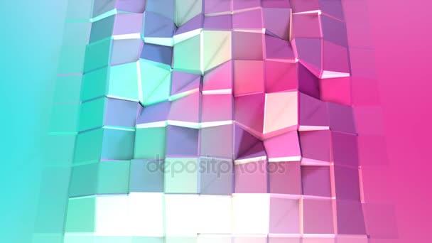 Abstraktní jednoduché modré růžové nízké poly 3d povrch jako technologické zázemí. Měkká nízké poly pohybu pozadí posunu čistě modrá růžová mnohoúhelníky. 4 k Fullhd bezešvé smyčka pozadí s kopií prostor