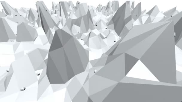 Abstract Black And White Low Poly Waving 3D Surface As High Tech Background