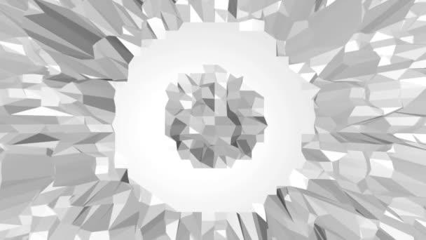 abstrakte saubere schwarz-weiße Low-Poly-wogende 3D-Oberfläche als Kristallzelle. graue geometrische vibrierende Umgebung oder pulsierender Hintergrund in Cartoon Low Poly populäres stylisches 3D-Design. Freiraum