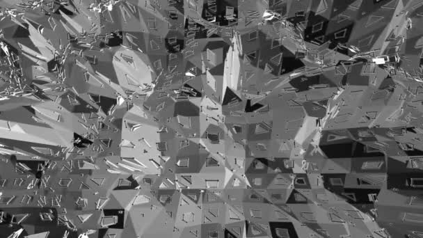 Absztrakt tiszta fekete-fehér alacsony poly, 3D-s felületen hullámzó táj vagy geometriai szerkezete. Szürke geometriai vibráló környezet vagy lüktető háttér.