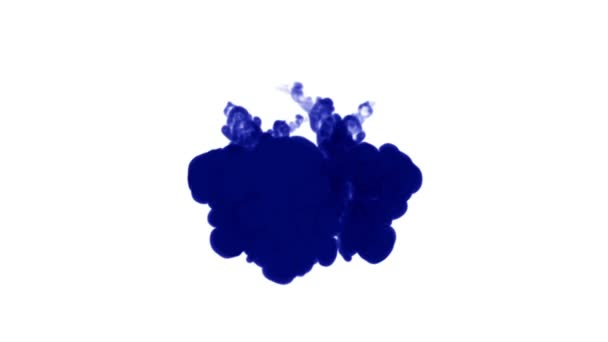 A lot of flows of isolated blue ink injects. Blue writing ink curls in water , shot in slow motion. Use for inky background or backdrop with smoke or ink effect