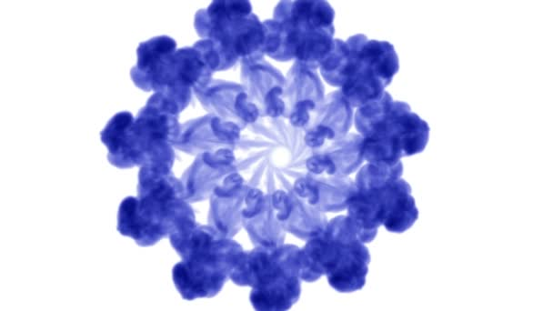 Overhead shot of isolated blue inks on white forming a circle. Blue writing ink mixing in water and move in slow motion. Use for inky background or backdrop with smoke or ink effects