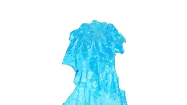 flusso di Fontana blu volare in aria con molti spruzzi. Colpo di liquido blu come limonata dolci o sciroppo di zucchero al rallentatore con canale alfa come mascherino luminanza. ver11 acqua
