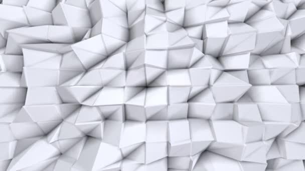 Jednoduché nízké poly 3d povrch jako matematické vizualizace. Měkký geometrické nízké poly pozadí čistě bílé šedé polygonů. 4 k rozlišení Full hd bezešvé smyčka pozadí s kopií prostor