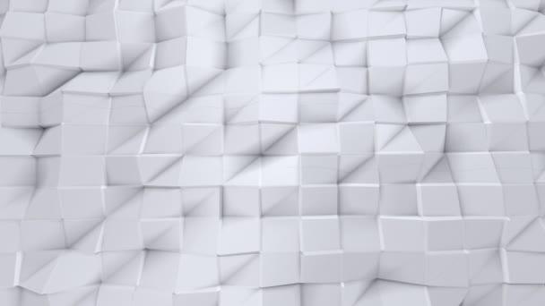 einfache Low-Poly-3D-Oberfläche als Raumkulisse. weicher geometrischer Low-Poly-Hintergrund aus reinweißen grauen Polygonen. 4k full hd nahtlose Schleife Hintergrund