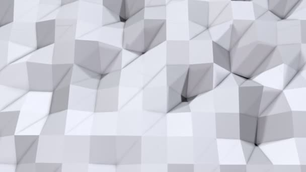 Jednoduché nízké poly 3d povrch jako jednoduché pozadí. Měkký geometrické nízké poly pozadí čistě bílé šedé polygonů. 4 k rozlišení Full hd bezešvé smyčka pozadí