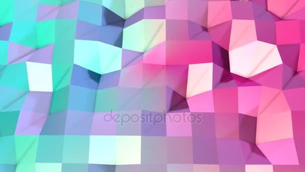 abstrakte einfache blaurosa Low-Poly 3D-Oberfläche als fantastisches Relief. weicher geometrischer Low-Poly-Bewegungshintergrund aus verschiebenden reinblau-rosa Polygonen. 4k Fullhd nahtloser Schleifenhintergrund