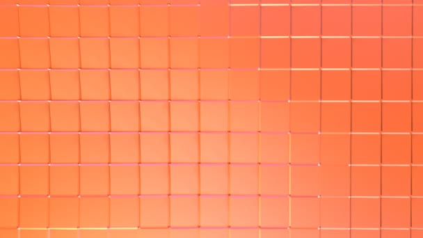 Abstract simple pink orange low poly 3D surface as fantasy environment. Soft geometric low poly motion background of shifting pure pink orange red polygons. 4K Fullhd seamless loop background