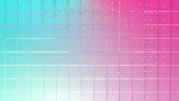 Abstract simple blue pink low poly 3D surface and flying white crystals as fantasy background. Soft geometric low poly background of pure blue pink polygons. 4K Fullhd seamless loop background.