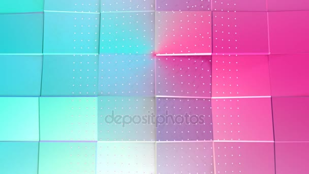 Abstract simple blue pink low poly 3D surface and flying white crystals as atom structure. Soft geometric low poly background of pure blue pink polygons. 4K Fullhd seamless loop background.