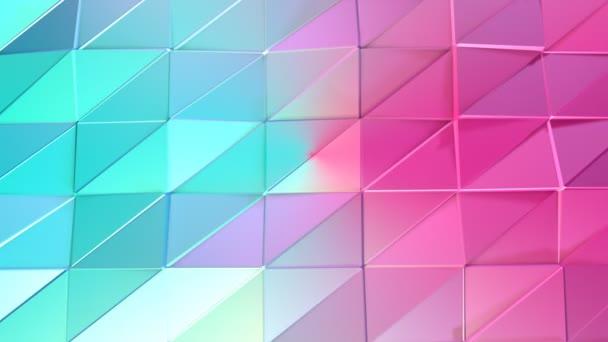 Abstraktní jednoduché modré růžové nízké poly 3d povrch jako futuristické prostředí. Měkký geometrické nízké poly pohybu pozadí posunu čistě modrá růžová mnohoúhelníky. 4 k Fullhd bezešvé smyčka pozadí