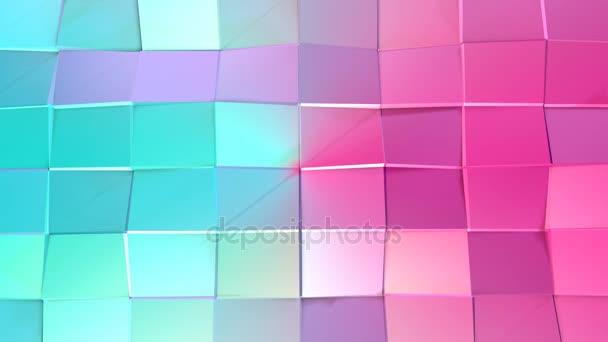 Abstraktní jednoduché modré růžové nízké poly 3d povrch jako matematické vizualizace. Měkký geometrické nízké poly pohybu pozadí posunu čistě modrá růžová mnohoúhelníky. 4 k Fullhd bezešvé smyčka pozadí