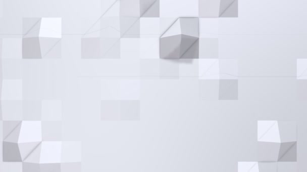 Simple low poly 3D surface as complexity background. Soft geometric low poly background of pure white grey polygons. 4K Full hd seamless loop background with copy space