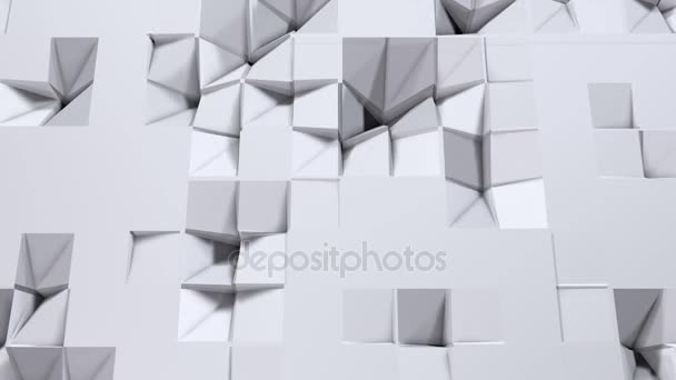 Simple low poly 3D surface as CG background. Soft geometric low poly background of pure white grey polygons. 4K Full hd seamless loop background with copy space
