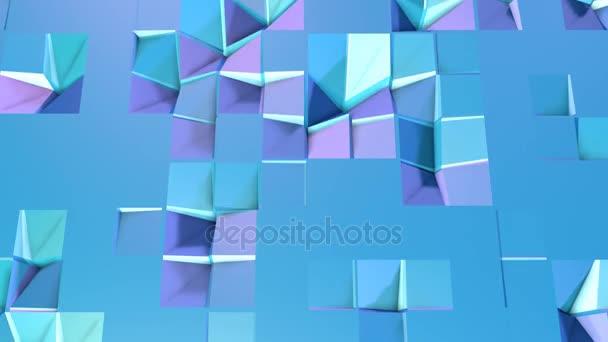 Abstraktní jednoduché modré fialové nízké poly 3d povrch jako nádherné pozadí. Měkký geometrické nízké poly pohybu pozadí s čistě modré fialové mnohoúhelníky. 4 k Fullhd bezešvé smyčka pozadí