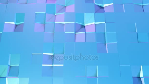Abstract simple blue violet low poly 3D surface as cartoon game background. Soft geometric low poly motion background with pure blue violet polygons. 4K Fullhd seamless loop background