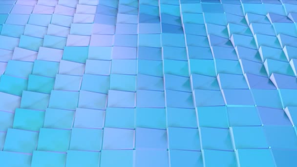 Abstract simple blue violet low poly 3D surface as landscape. Soft geometric low poly motion background of shifting pure blue violet polygons. 4K Fullhd seamless loop background.