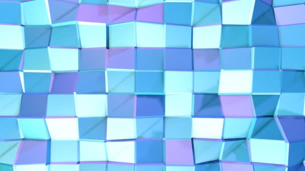 Abstract simple blue violet low poly 3D surface as lovely background. Soft geometric low poly motion background of shifting pure blue violet polygons. 4K Fullhd seamless loop background