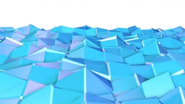 abstrakte einfache blauviolette Low-Poly-3D-Oberfläche als Hintergrund des Cartoon-Spiels. weicher geometrischer Low-Poly-Bewegungshintergrund aus verschiebenden reinblauen violetten Polygonen. 4k Fullhd nahtloser Schleifenhintergrund