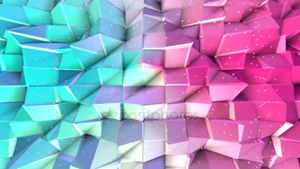 Abstract simple blue pink low poly 3D surface and flying white crystals as simple background. Soft geometric low poly background of pure blue pink polygons. 4K Fullhd seamless loop background.