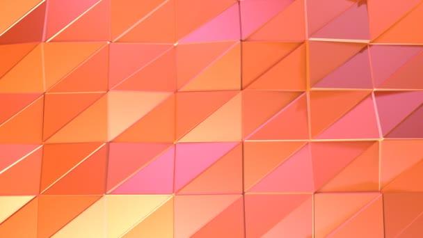 Abstraktní jednoduché růžové oranžové nízké poly 3d povrch jako animované prostředí. Měkký geometrické nízké poly pohybu pozadí posunu čistě růžová oranžová červená mnohoúhelníky. 4 k Fullhd bezešvé smyčka pozadí
