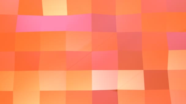 Abstract simple pink orange low poly 3D surface as environment. Soft geometric low poly motion background of shifting pure pink orange red polygons. 4K Fullhd seamless loop background