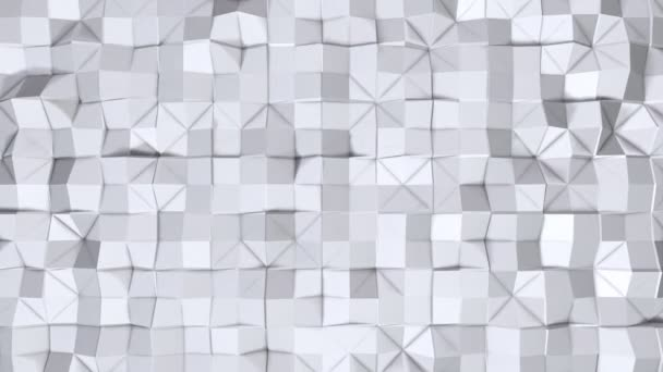 Simple low poly 3D surface as fractal environment. Soft geometric low poly background of pure white grey polygons. 4K Full hd seamless loop background