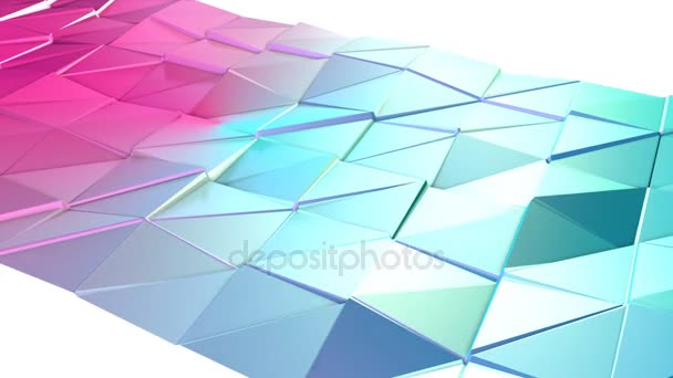 Abstract simple blue pink low poly 3D surface as art environment. Soft geometric low poly motion background of shifting pure blue pink polygons. 4K Fullhd seamless loop background